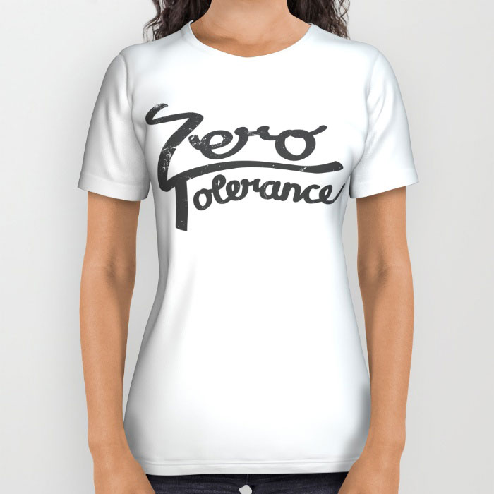zero tolerance hand lattering t-shirt all over artwork society6 mock up