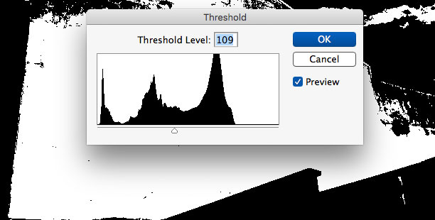 adjusting the threshold levels in photoshop