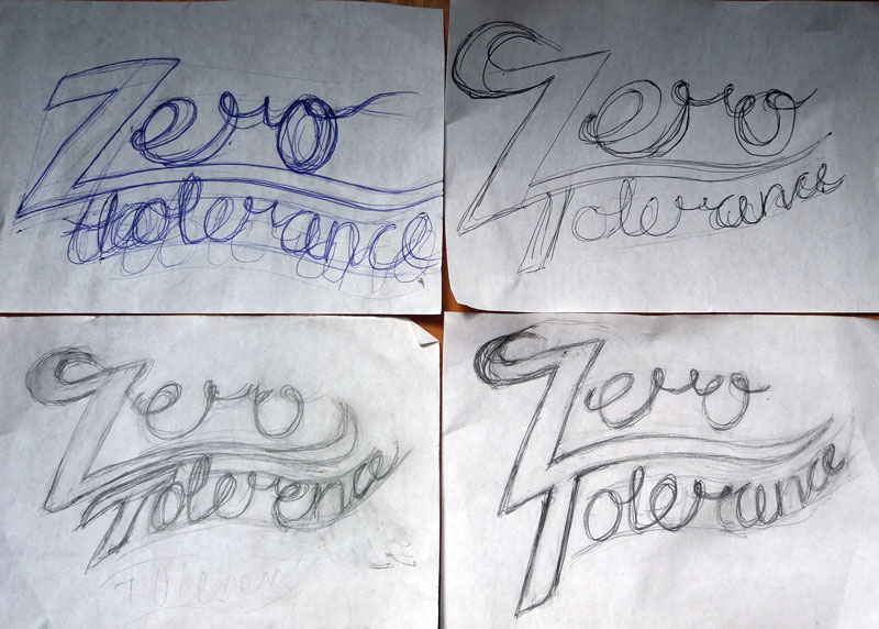 zero tolerance hand lettering pencil sketches
